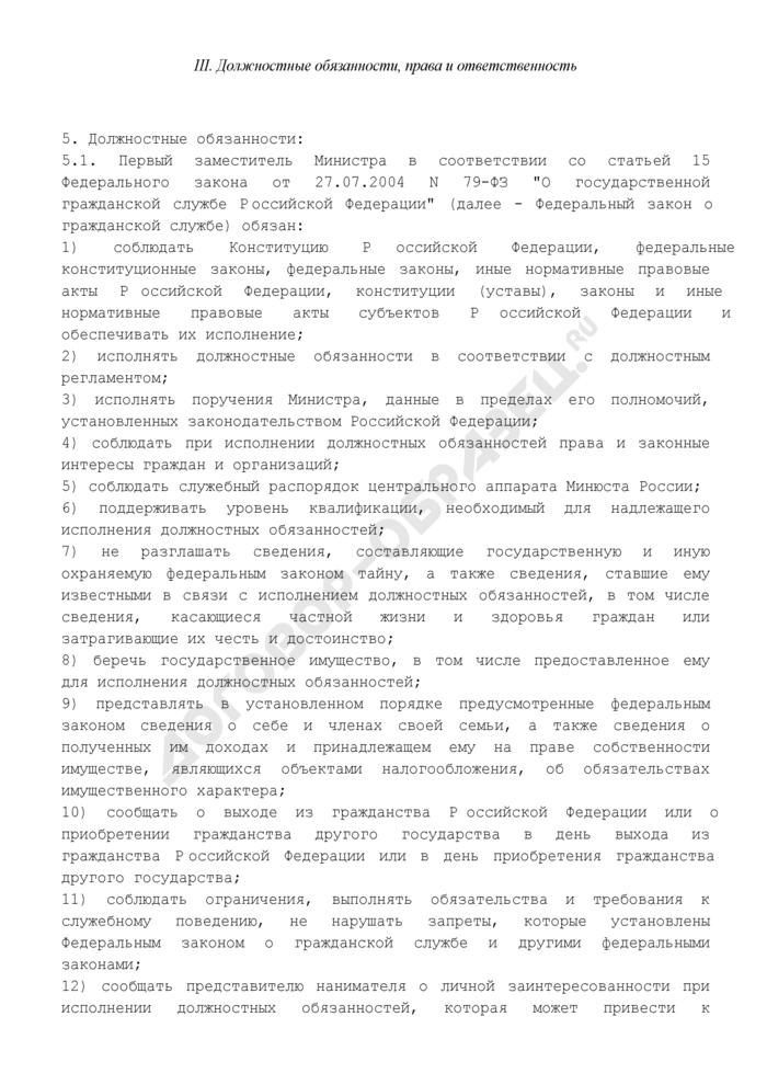 Должностной регламент первого заместителя Министра центрального аппарата Минюста России. Страница 3