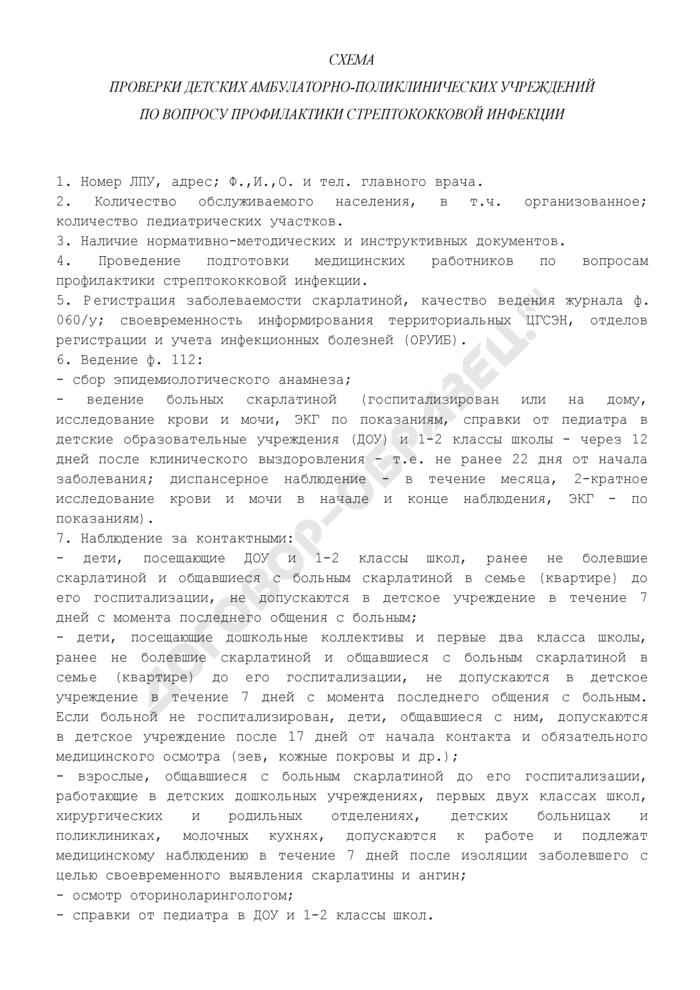 Схема проверки детских амбулаторно-поликлинических учреждений по вопросу профилактики стрептококковой инфекции (рекомендуемая форма). Страница 1