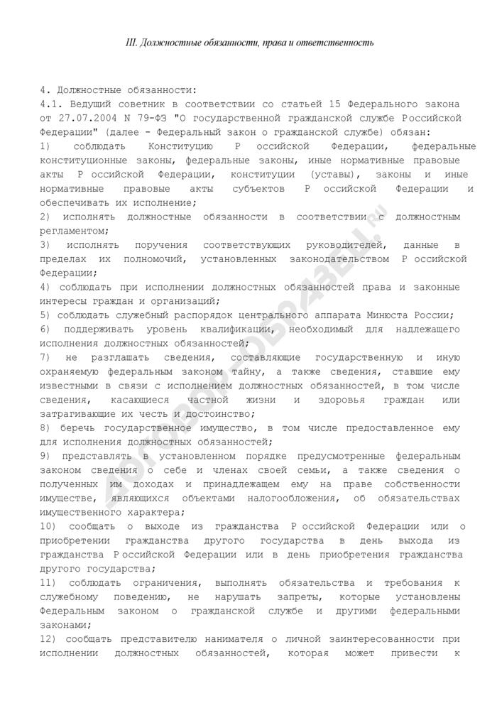 Должностной регламент ведущего советника центрального аппарата Минюста России. Страница 3