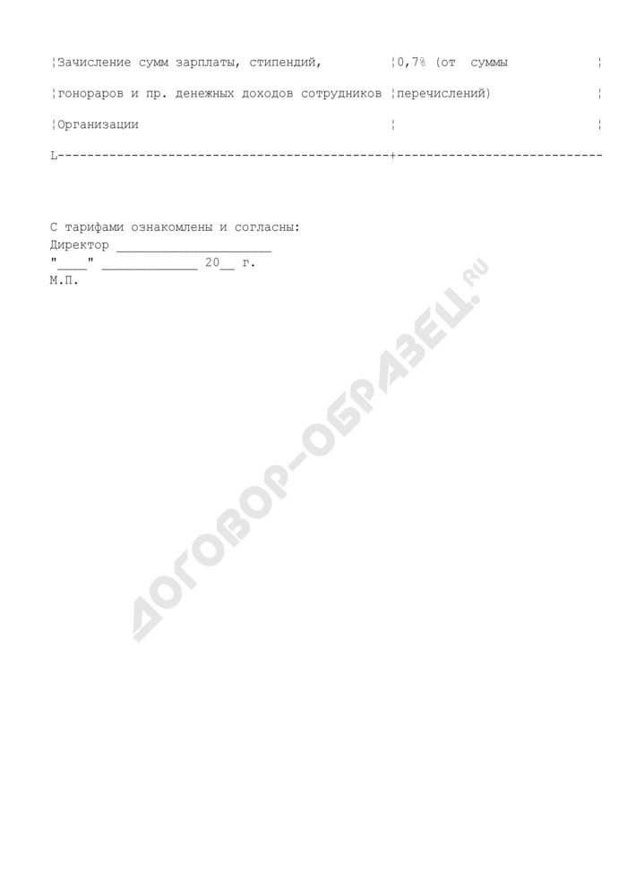 Тарифы по обслуживанию дебетовых банковских карт для организации (приложение к договору на выпуск и обслуживание зарплатных банковских карт). Страница 2