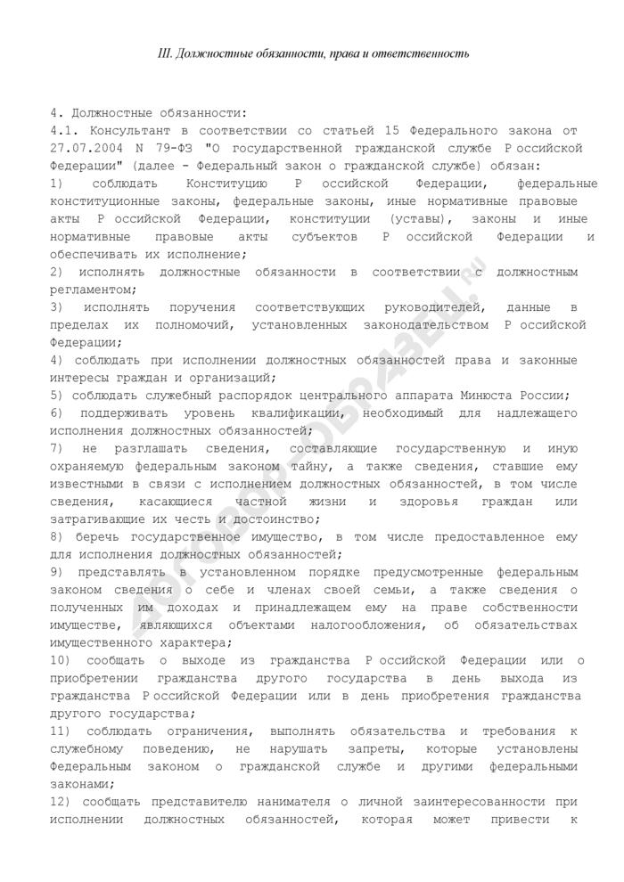 Должностной регламент консультанта центрального аппарата Минюста России. Страница 3