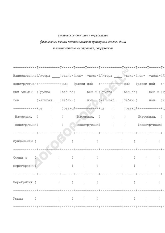 Техническое описание и определение физического износа неотапливаемых пристроек жилого дома и вспомогательных строений, сооружений. Страница 1