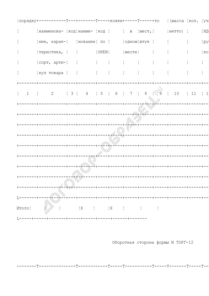 Товарная накладная на поставку продукции по государственному контракту. Унифицированная форма N ТОРГ-12. Страница 3