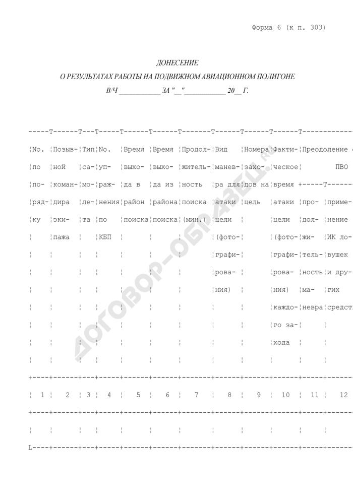Донесение о результатах работы на подвижном авиационном полигоне. Форма N 6. Страница 1