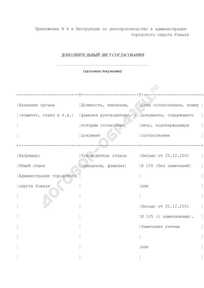 Дополнительный лист согласования в администрации городского округа Рошаля Московской области. Страница 1