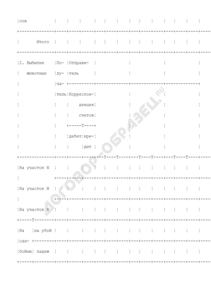 Учетный лист движения животных и расхода кормов. Типовая межотраслевая форма N СП-48. Страница 3