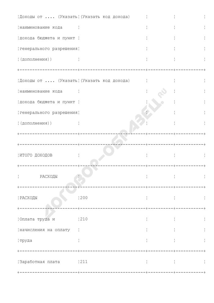 Фактическое исполнение сметы доходов и расходов бюджетного учреждения по средствам, полученным от приносящей доход деятельности. Форма N 3. Страница 2