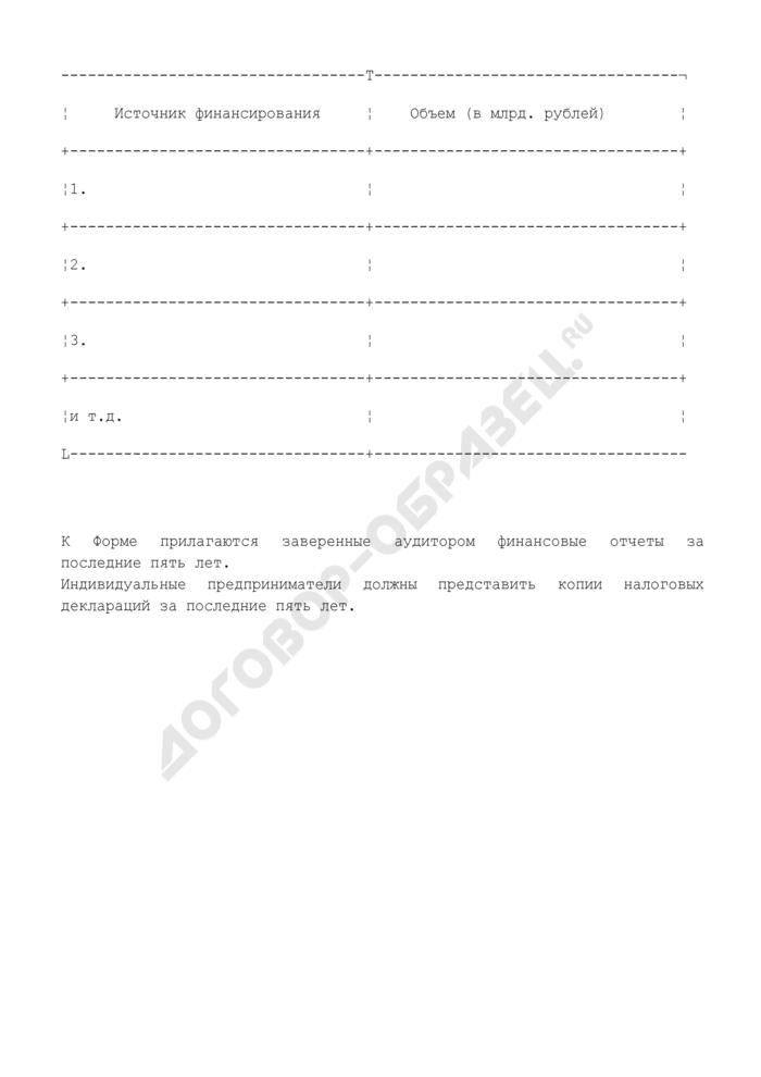Финансовые возможности (приложение к письму-заявке на участие в предварительном квалификационном отборе подрядчиков для последующего участия в торгах (конкурсе)). Форма N 7. Страница 3