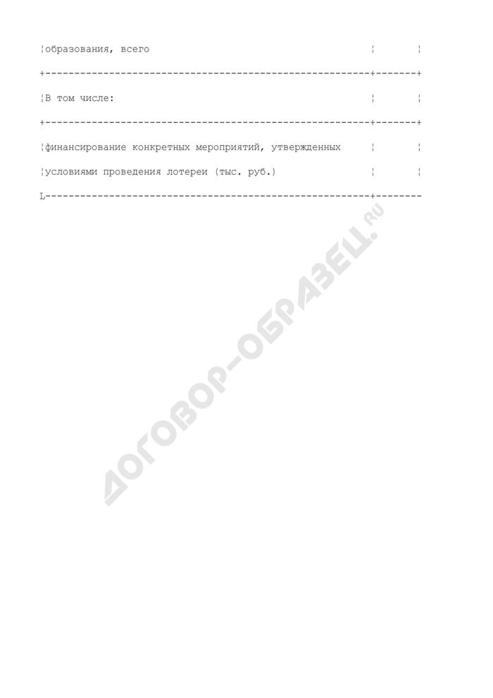 Форма ежеквартальной отчетности о проведении лотереи на территории Наро-Фоминского муниципального района Московской области. Страница 3