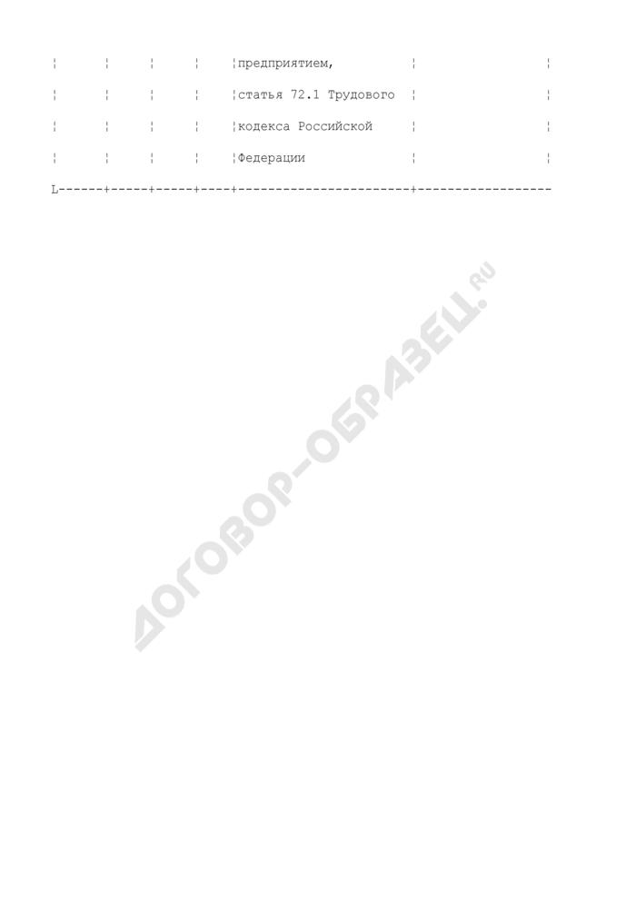 Форма записи в трудовой книжке при переводе работника на другую постоянную работу на том же предприятии в связи с перемещением предприятия в другую местность (пример). Страница 2