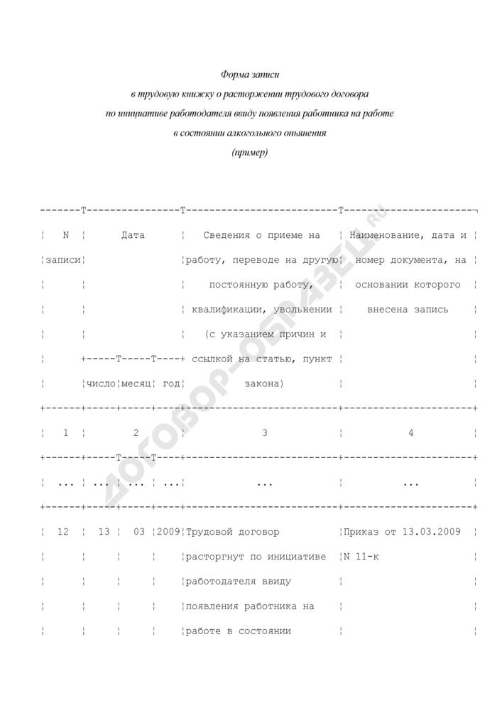 Форма записи в трудовую книжку о расторжении трудового договора по инициативе работодателя ввиду появления работника на работе в состоянии алкогольного опьянения (пример). Страница 1