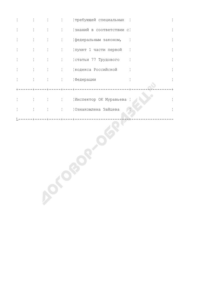 Форма записи в трудовой книжке при увольнении работника в связи с отсутствием у него соответствующего документа об образовании (пример заполнения). Страница 2