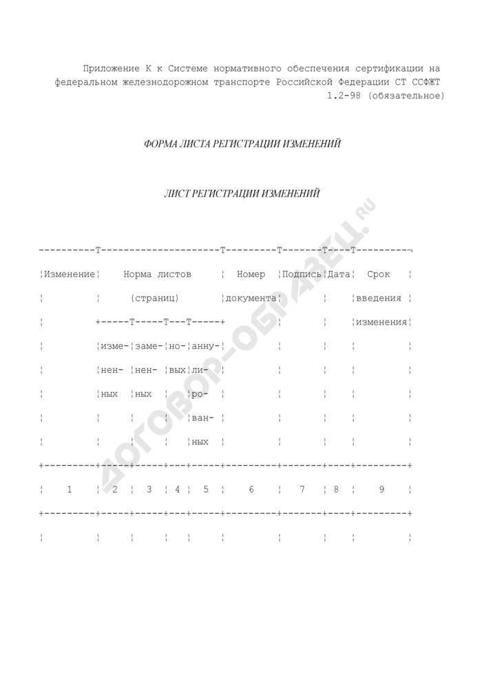 Форма листа регистрации изменений нормативного документа по сертификации на федеральном железнодорожном транспорте. Страница 1