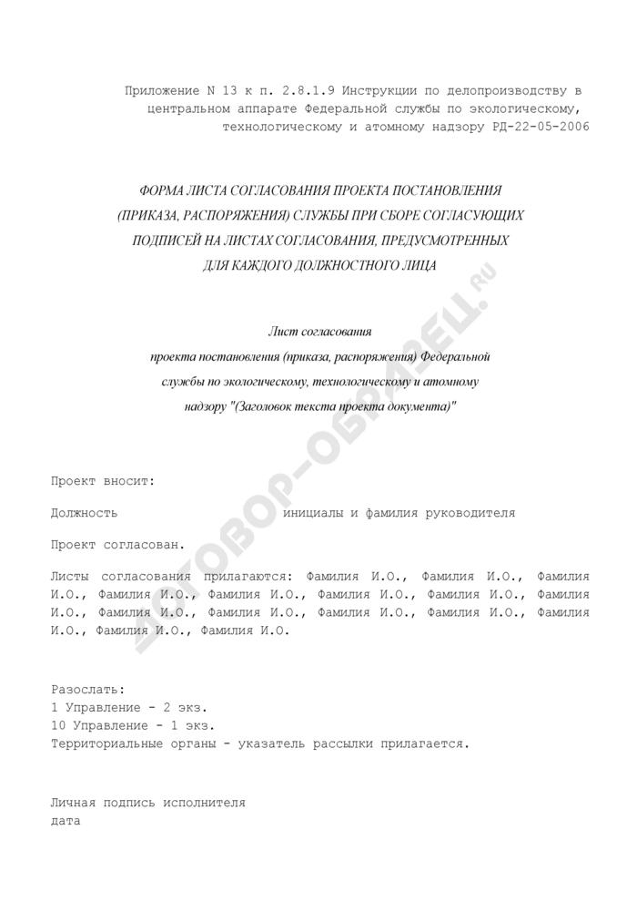 Форма листа согласования проекта постановления (приказа, распоряжения) Федеральной службы по экологическому, технологическому и атомному надзору при сборе согласующих подписей на листах согласования, предусмотренных для каждого должностного лица. Страница 1