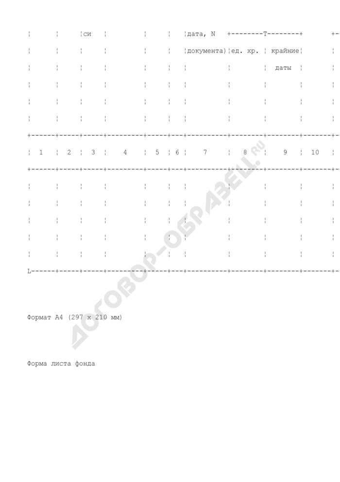 Форма листа фонда таможенного органа. Страница 3