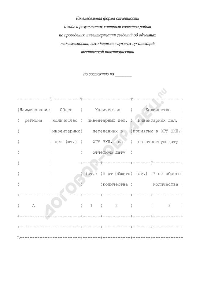 Еженедельная форма отчетности о ходе и результатах контроля качества работ по проведению инвентаризации сведений об объектах недвижимости, находящихся в архивах организаций технической инвентаризации. Страница 1