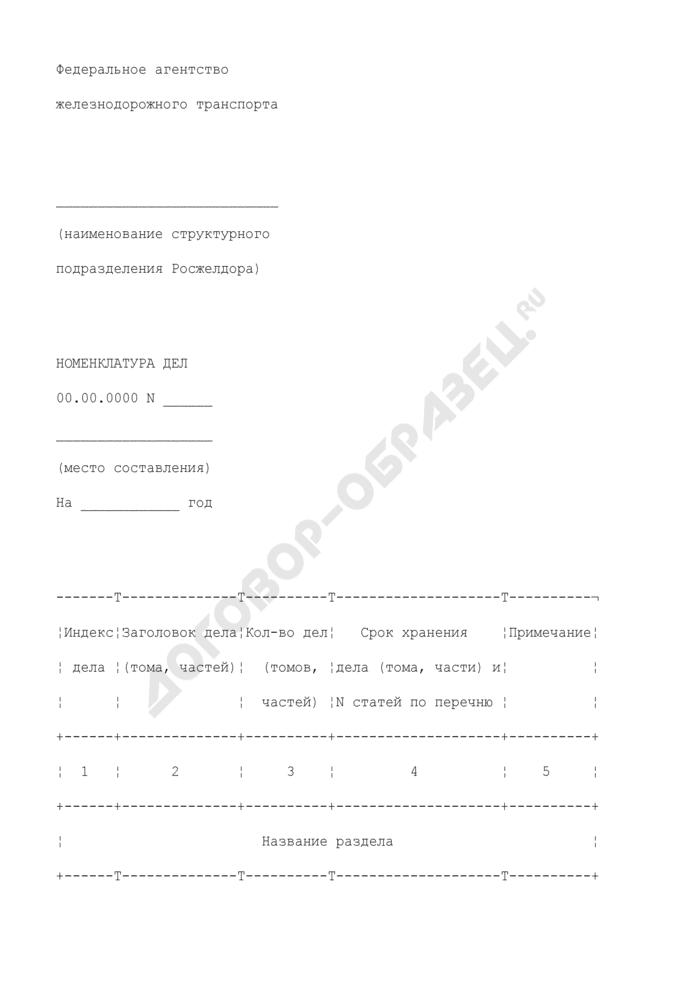 Форма номенклатуры дел структурного подразделения Федерального агентства железнодорожного транспорта. Страница 1
