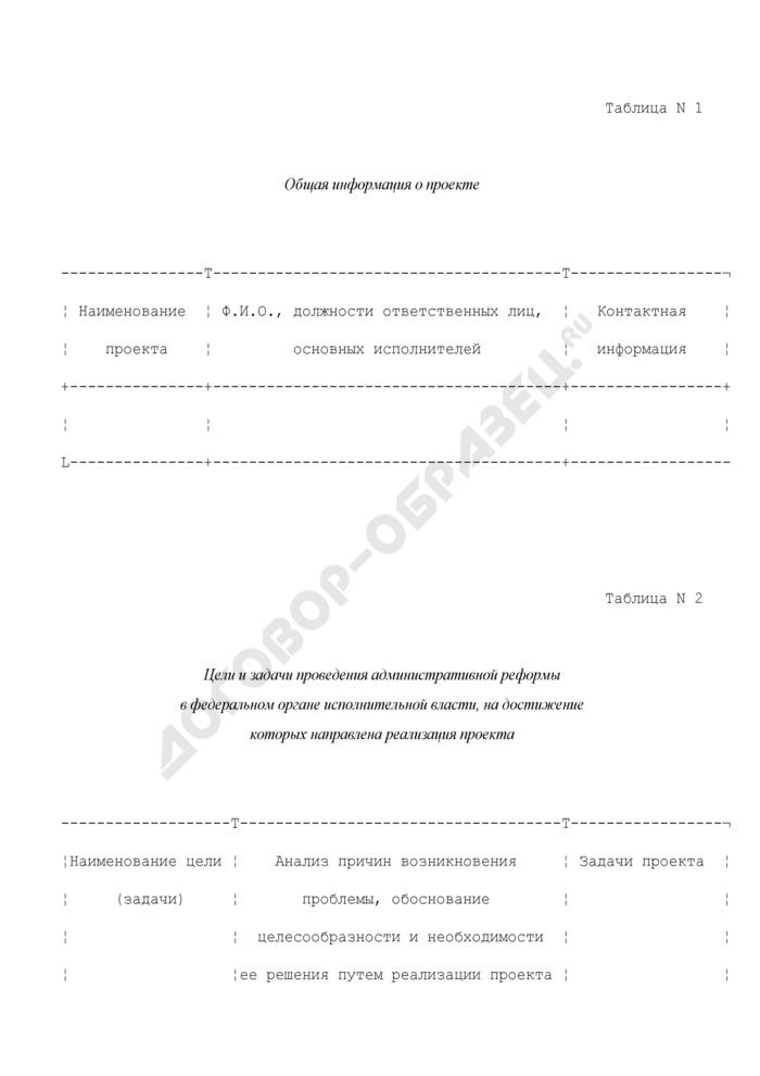 Форма описания проекта реализации административной реформы федеральных органов исполнительной власти для оказания поддержки проведения административной реформы в 2009 году. Страница 1
