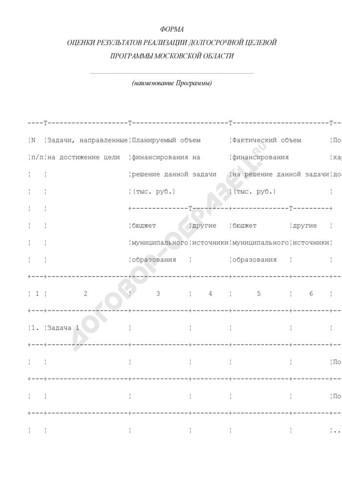 Форма оценки результатов реализации долгосрочной целевой программы  городского округа Орехово-Зуево Московской области. Страница 1