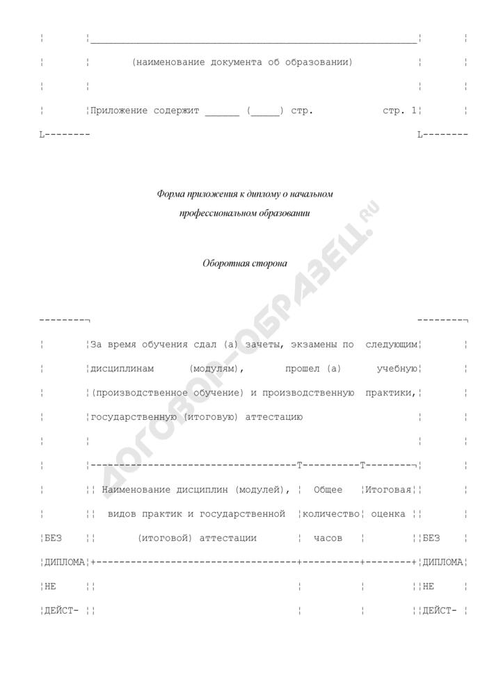 Форма приложения к диплому о начальном профессиональном образовании. Страница 3