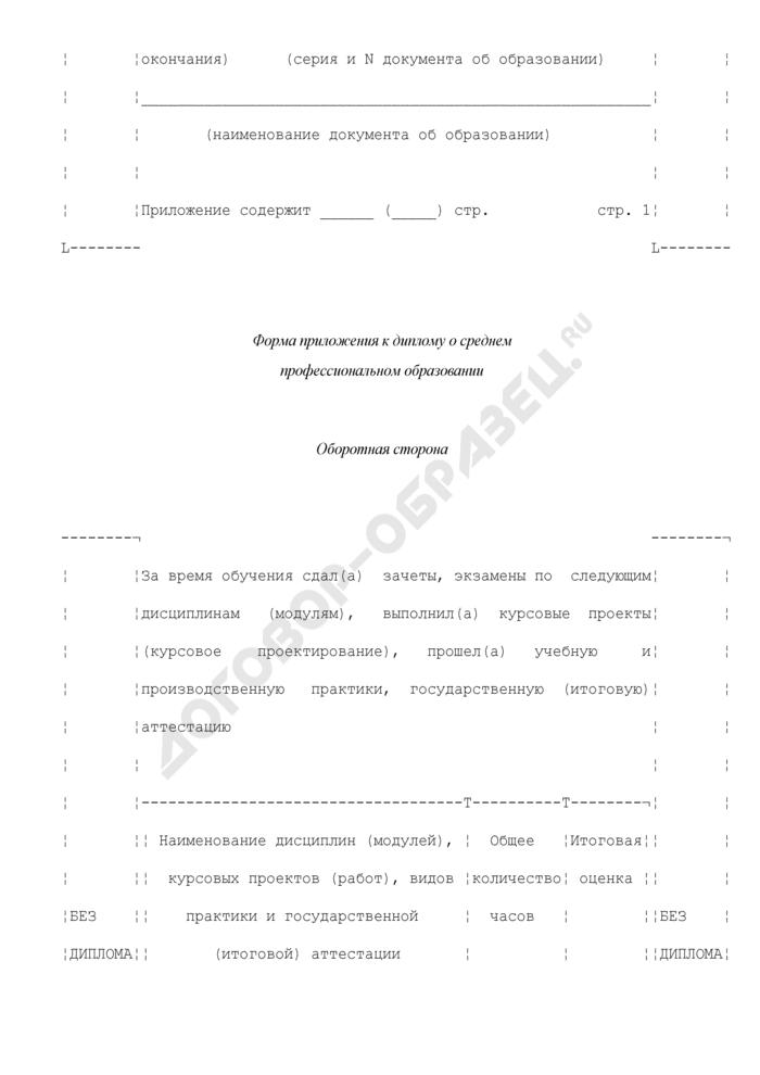 Форма приложения к диплому о среднем профессиональном образовании. Страница 3