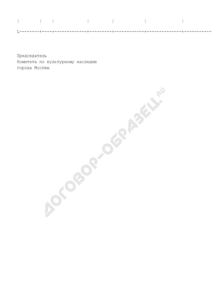 Форма программы мероприятий по государственной охране, сохранению и популяризации недвижимого культурного наследия города Москвы, подлежащих финансированию за счет средств целевого бюджетного фонда. Страница 2