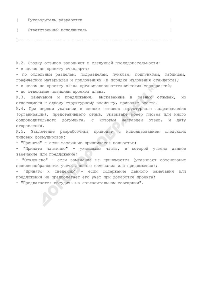 """Форма сводки отзывов на проект стандарта ОАО """"РЖД. Страница 2"""