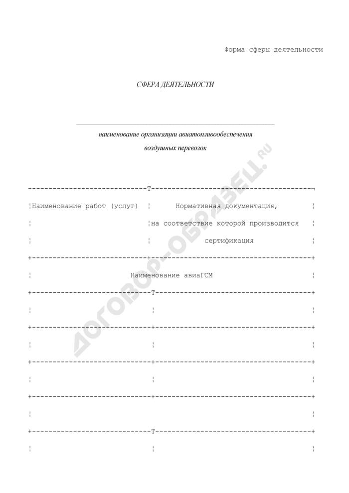 Форма сферы деятельности организации авиатопливообеспечения воздушных перевозок. Страница 1