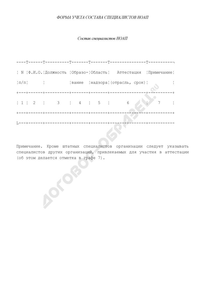 Форма учета состава специалистов независимого органа по аттестации персонала. Страница 1