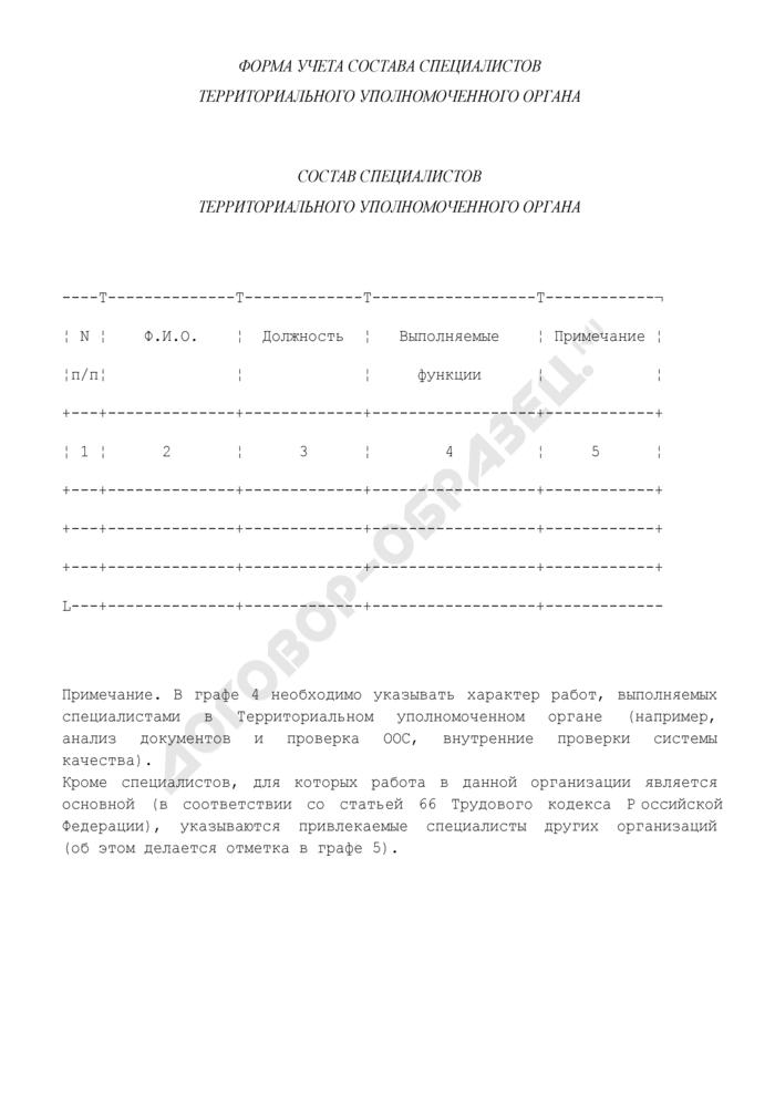 Форма учета состава специалистов территориального уполномоченного органа в единой системе оценки соответствия на объектах, подконтрольных Ростехнадзору. Страница 1