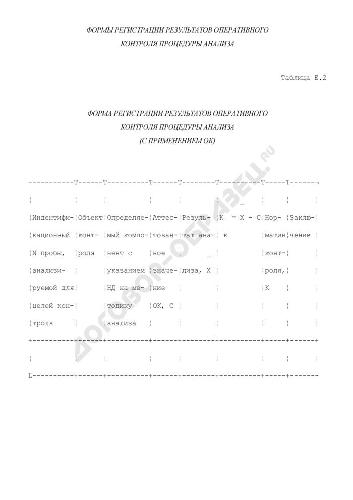 Формы регистрации результатов оперативного контроля процедуры химического анализа. Форма регистрации результатов оперативного контроля процедуры анализа (с применением оперативного контроля) (таблица Е.2). Страница 1