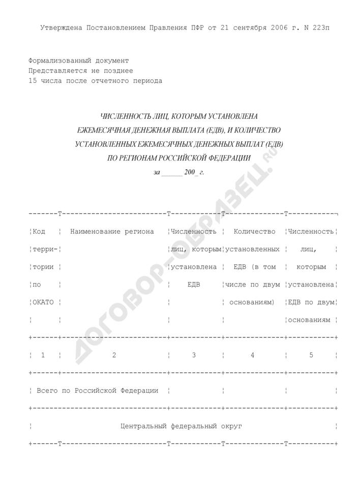 Численность лиц, которым установлена ежемесячная денежная выплата (ЕДВ), и количество установленных ежемесячных денежных выплат (ЕДВ) по регионам Российской Федерации. Форма N 5-ФР (ежемесячная). Страница 1