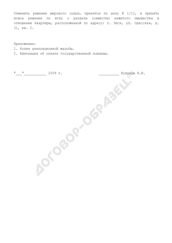 Апелляционная жалоба на решение мирового судьи о разделе совместно нажитого имущества (пример). Страница 2