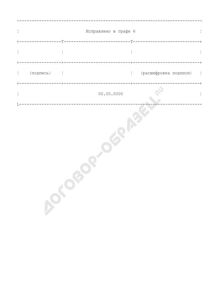 Запись об исправлении в журнале учета командировочных удостоверений. Страница 1