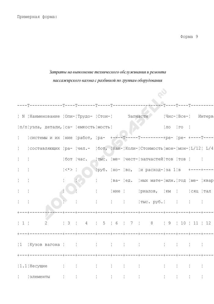 Затраты на выполнение технического обслуживания и ремонта пассажирского вагона с разбивкой по группам оборудования. Форма N 9. Страница 1