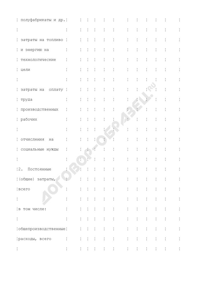 Затраты на производство и сбыт продукции (на годовой объем) (приложение к бизнес-плану, представляемому претендентом в составе заявки на участие в конкурсном распределении централизованных инвестиционных ресурсов). Страница 2