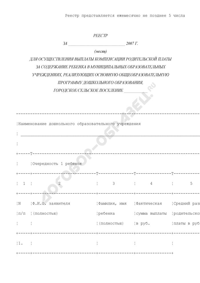 Реестр для осуществления выплаты компенсации родительской платы за содержание ребенка в муниципальных образовательных учреждениях, реализующих основную общеобразовательную программу дошкольного образования, в городском/сельском поселении муниципального района Московской области. Страница 1