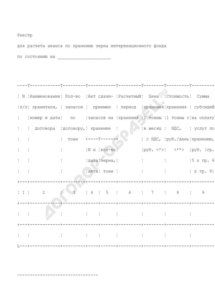 Реестр для расчета аванса по хранению зерна интервенционного фонда (приложение к расчету аванса причитающихся агенту субсидий на хранение запасов интервенционного фонда). Страница 1