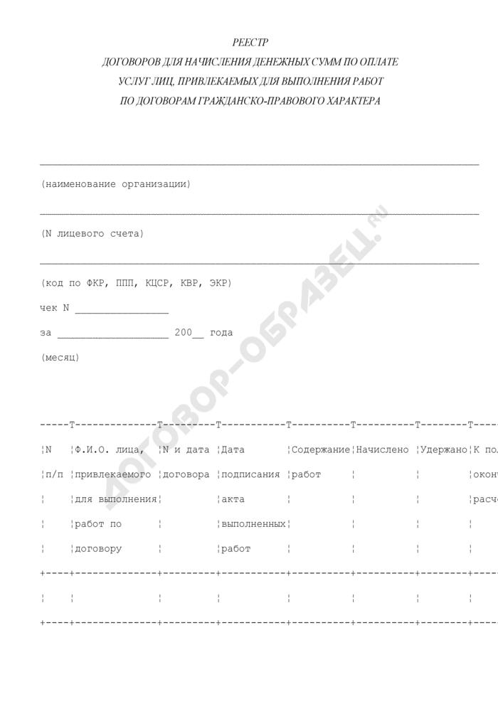 Реестр договоров для начисления денежных сумм по оплате услуг лиц, привлекаемых для выполнения работ по договорам гражданско-правового характера в городе Климовск Московской области. Страница 1