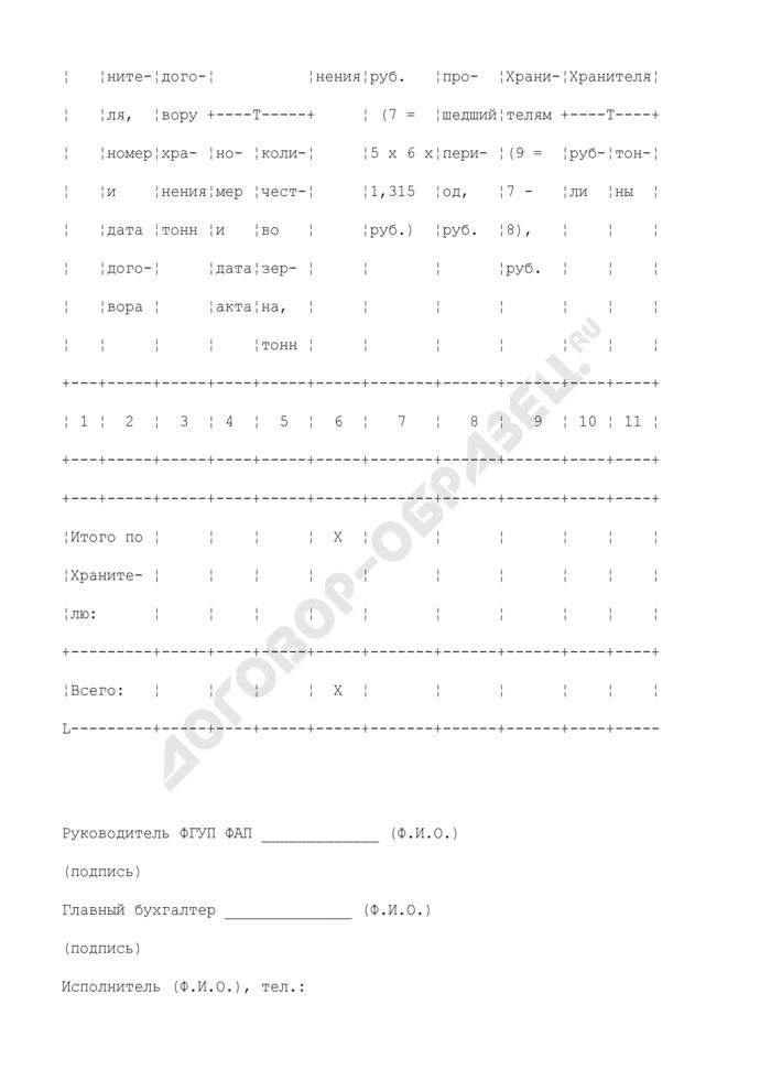 Реестр договоров хранения (приложение к справке о причитающихся субвенциях для оплаты услуг по хранению зерна, закупленного в интервенционный фонд). Страница 2