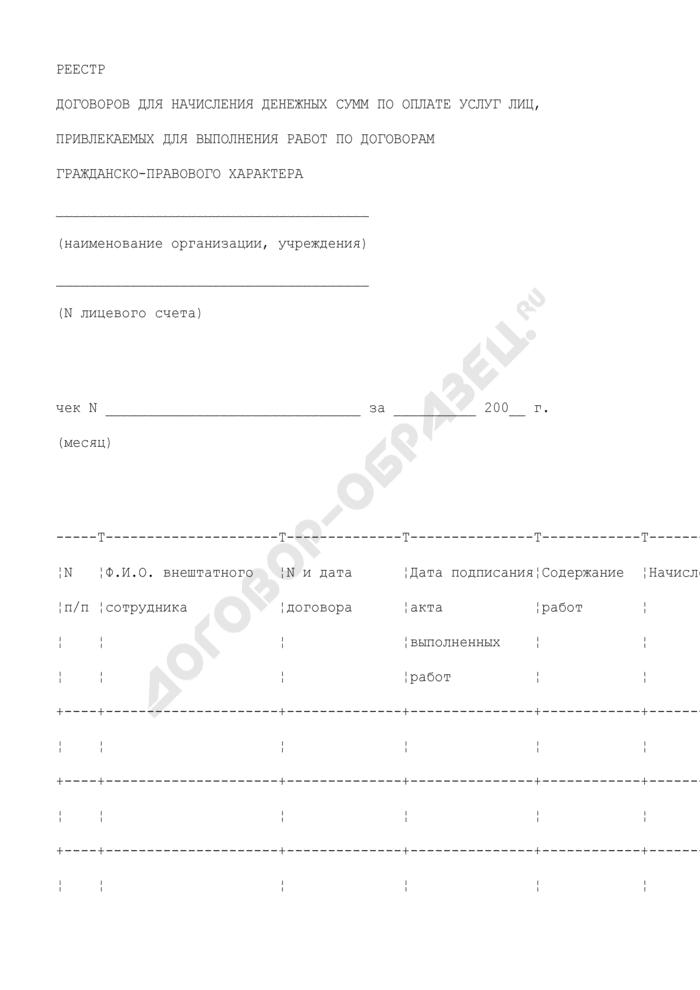 Реестр договоров для начисления денежных сумм по оплате услуг лиц, привлекаемых для выполнения работ по договорам гражданско-правового характера Люберецкого муниципального района Московской области. Страница 1