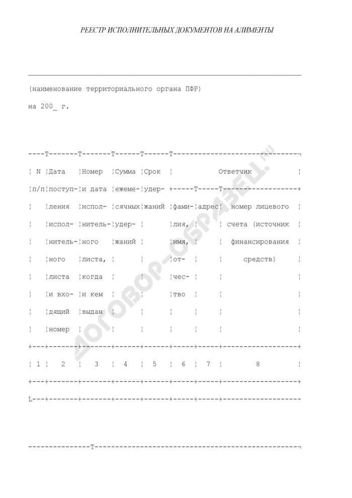 Реестр исполнительных документов на алименты. Страница 1
