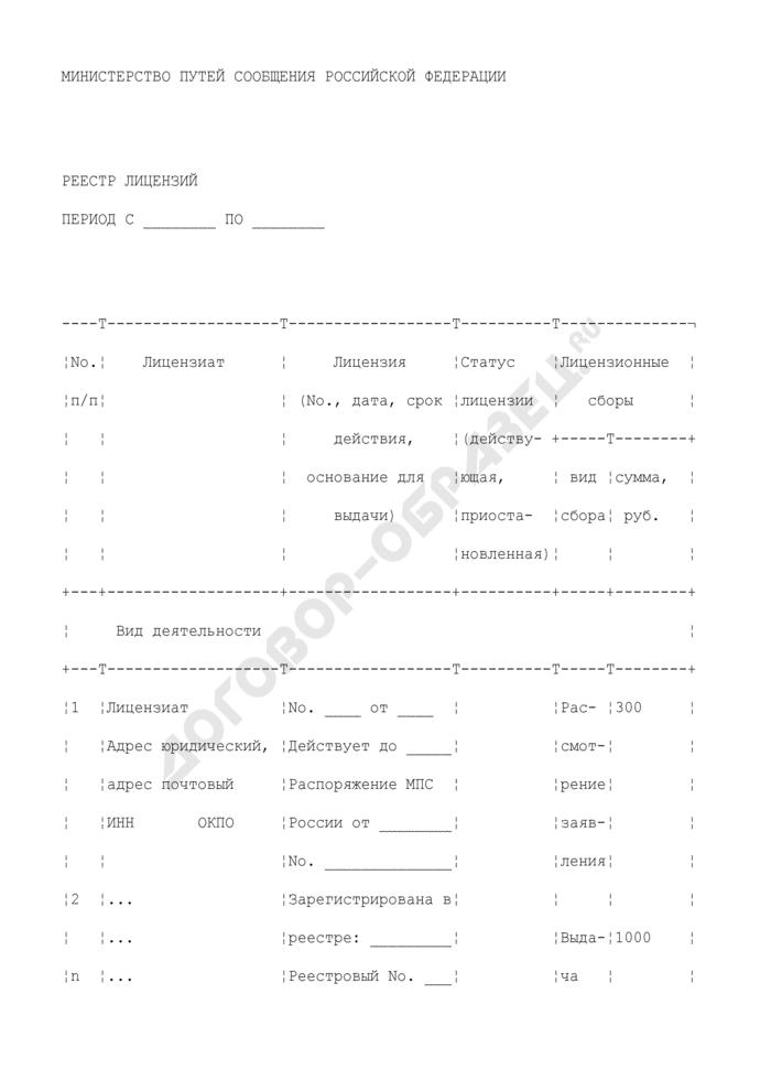 Реестр лицензий на вид деятельности на железнодорожном транспорте. Страница 1