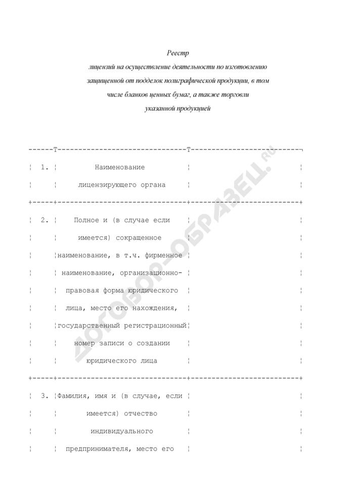 Реестр лицензий на осуществление деятельности по изготовлению защищенной от подделок полиграфической продукции, в том числе бланков ценных бумаг, а также торговли указанной продукцией. Страница 1