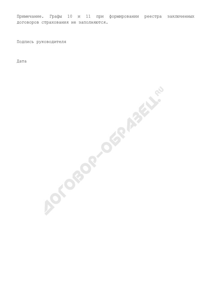 """Реестр направляемых на согласование проектов (согласованных) заключенных договоров страхования (приложение к типовому положению об организации страховой защиты в дочерних и зависимых обществах открытого акционерного общества """"Российские железные дороги""""). Страница 2"""