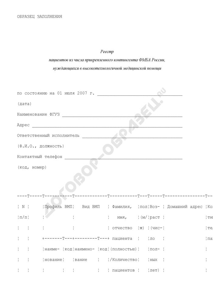 Реестр пациентов из числа прикрепленного контингента Федерального медико-биологического агентства России, нуждающихся в высокотехнологичной медицинской помощи (образец заполнения). Страница 1