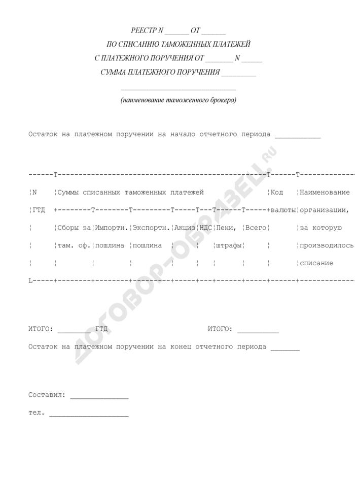 Реестр по списанию таможенных платежей с платежного поручения. Страница 1