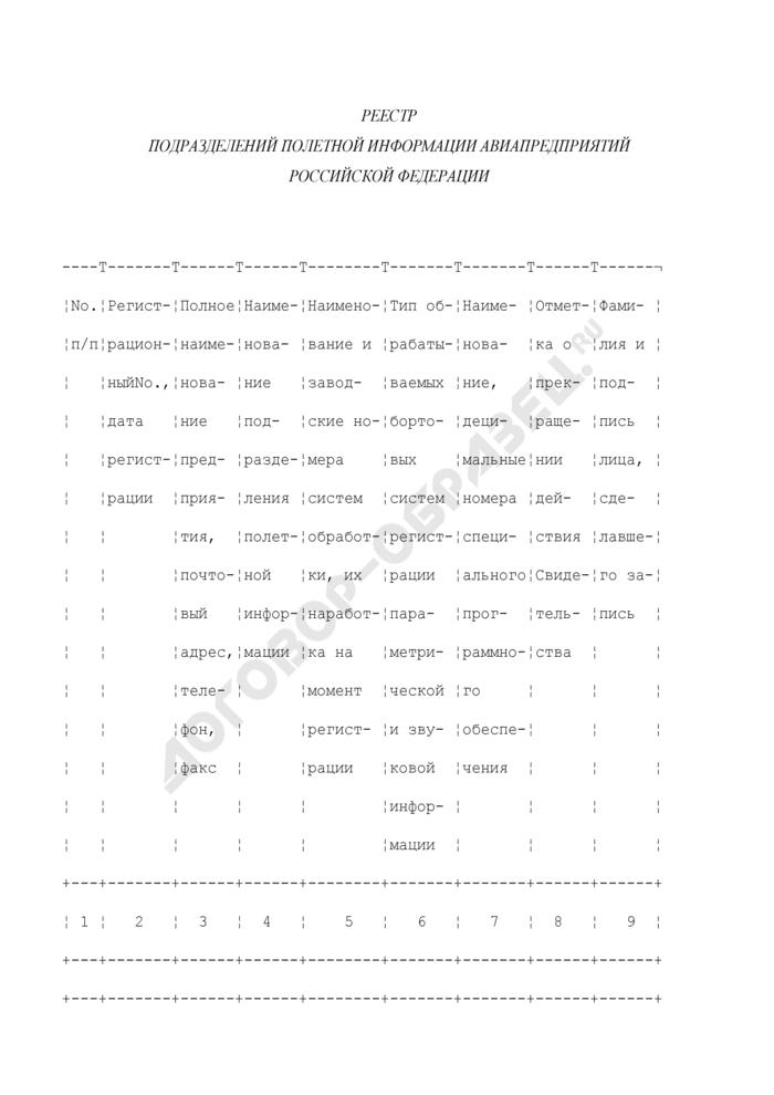 Реестр подразделений полетной информации авиапредприятий Российской Федерации. Страница 1