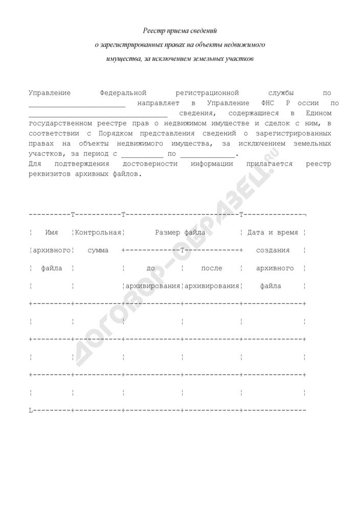 Реестр приема сведений о зарегистрированных правах на объекты недвижимого имущества, за исключением земельных участков. Страница 1