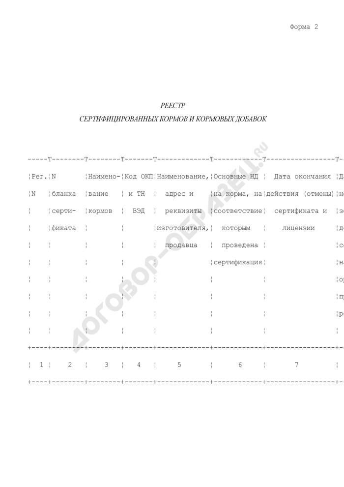 Реестр сертифицированных кормов и кормовых добавок. Форма N 2. Страница 1
